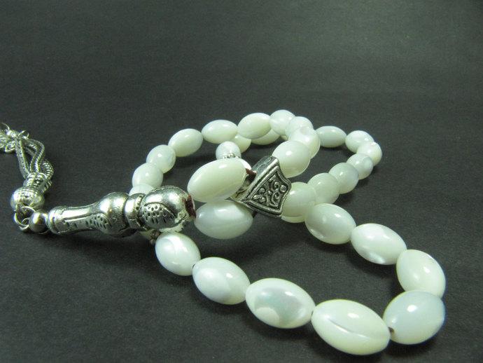 EXPRESS SHIPPING - Turkish Islamic 33 Prayer Beads, Tesbih, White Mother of