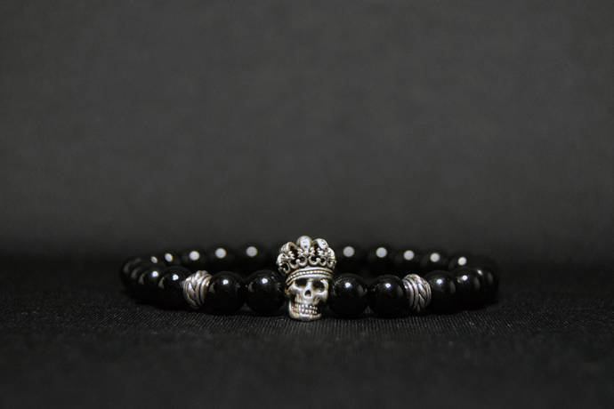 EXPRESS SHIPPING - Onyx & Skull King Bracelet Mens Mala Bracelet, Womens Yoga