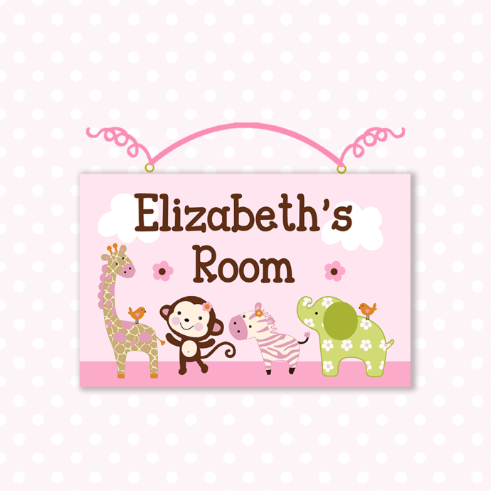 Personalized Jungle Jill Girl Animals Wood Nursery Sign Plaque Baby Girl Decor