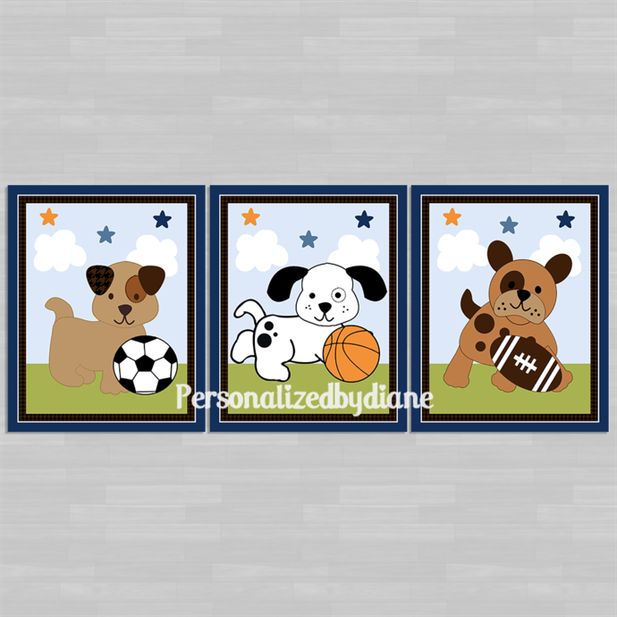 "Set of 3 Unframed ""Bow Wow Buddies Sport Puppies"" 8x10 inch Nursery Wall Art"