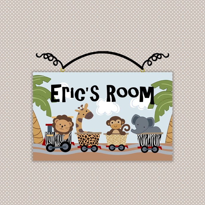 Personalized Safari Express Train Animals Wood Nursery Sign Plaque Baby Girl