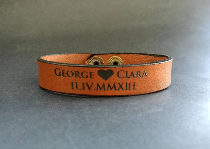 EXPRESS SHIPPING - Personalized Leather Bracelet, Custom Engraved Name Bracelet,