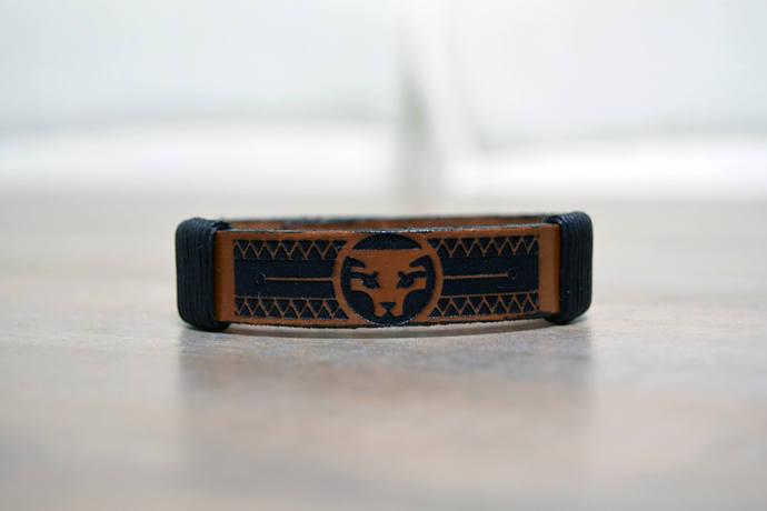 EXPRESS SHIPPING - Black Panther Bracelet, Engraved Leather Bracelet, Comic