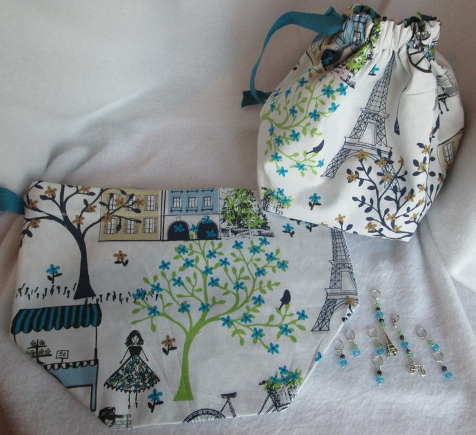 Drawstring Project Bag for knitting & crochet SIGHTSEEING WITH CHARLOTTE IN