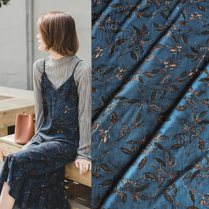 branches and leaves print Satin Chiffon