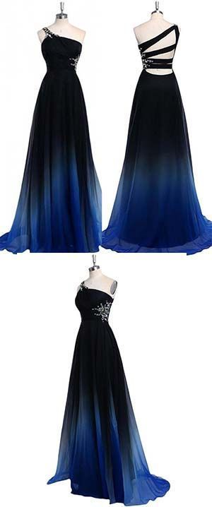 3587415557e Ombre A Line One Shoulder Beading Chiffon Prom by MeetBeauty on Zibbet