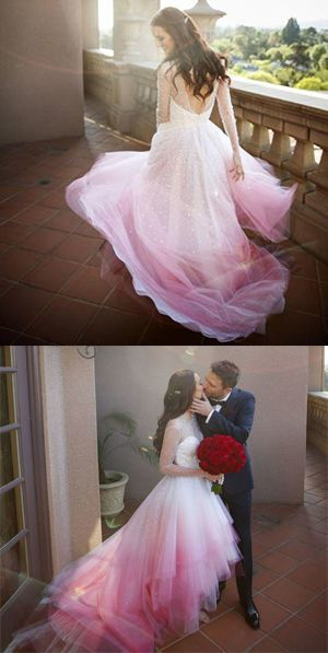 A-line Colorful Pink and White Long Sleeves Sheer Long Wedding Dress,Ombre