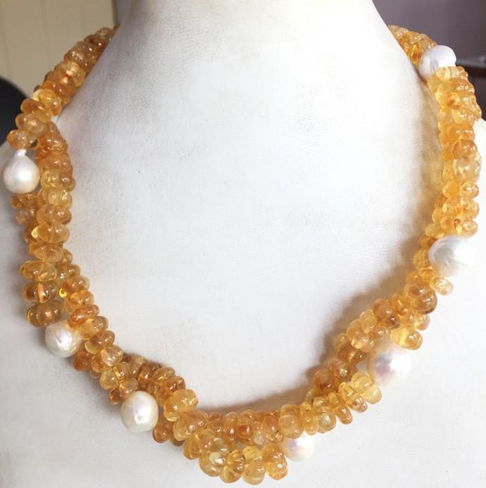 925 Sterling Silver semi precious citrine Melon Freshwater Pearl Necklace