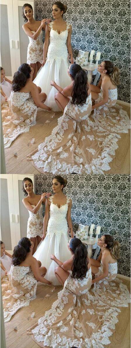 Fashion Sheath Sweetheart Champagne Lace Bridesmaid Dress