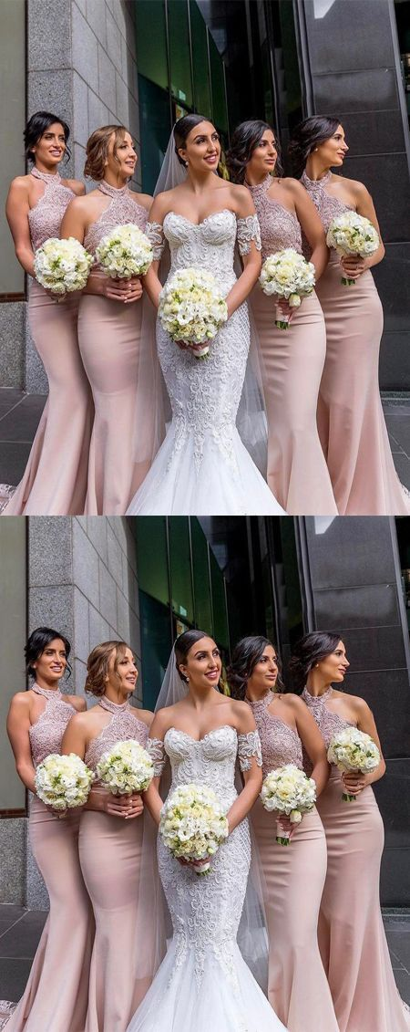 Elegant Mermaid Halter Pink Satin Long Bridesmaid Dress with Lace