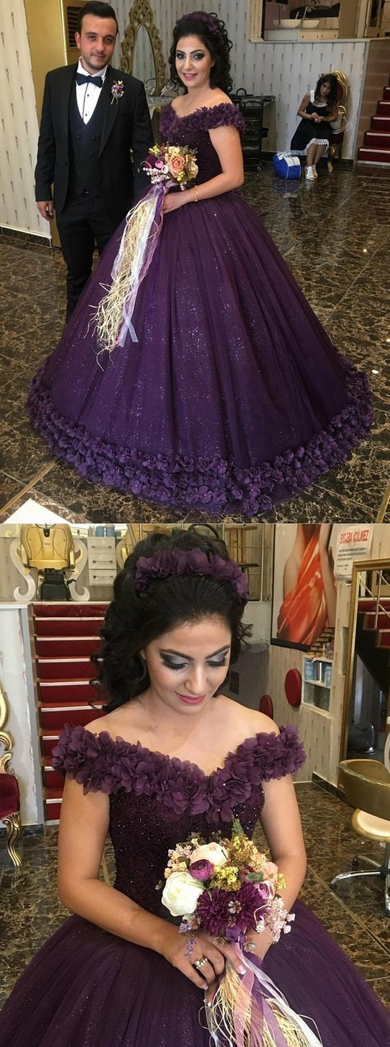 Fashion Ball Gown,Off-the-Shoulder Grape Tulle Beaded Quinceanera Dress with