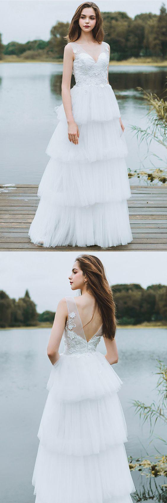 Unique Tiered Tulle Low Back Boho Wedding Dress Beach Weddings Long Dress
