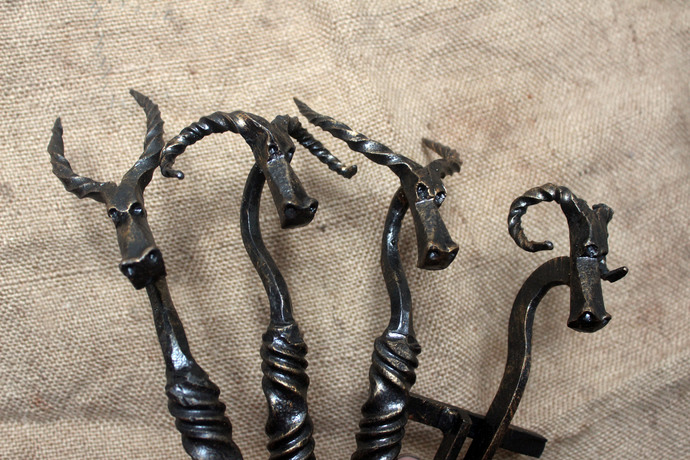 Hand forged fireplace tools with ram, goat heads. Fireplace Accessory.