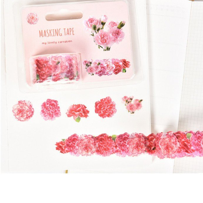 Stickers to be detached wrapped in ribbon beautiful flowers of carnation