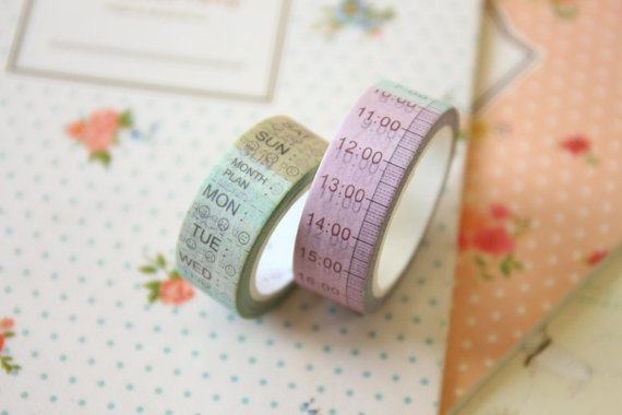 washi tape daily/time diary planner