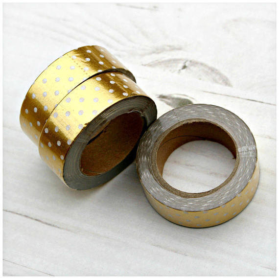 Washi tape gold color with white polka dots