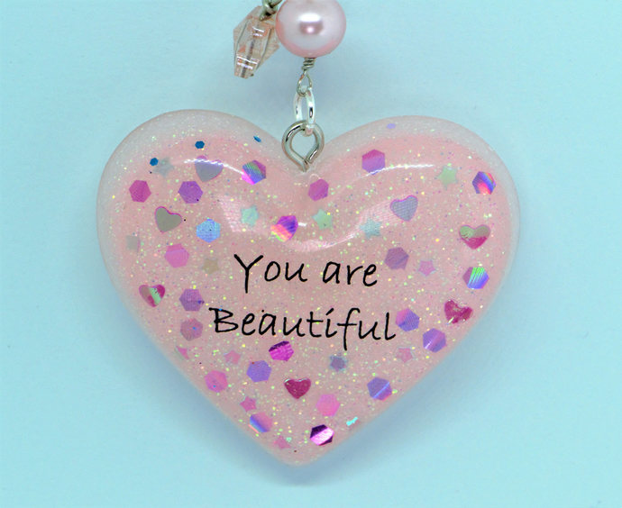 "Pastel pink resin ""You are Beautiful"" Key chain