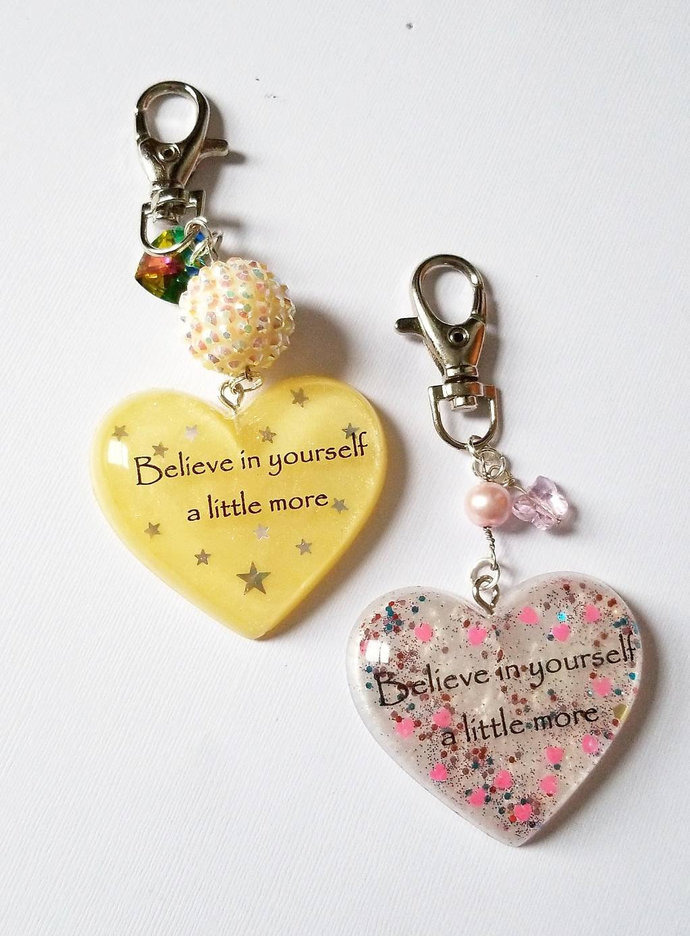 Believe in yourself a little more resin heart keychains