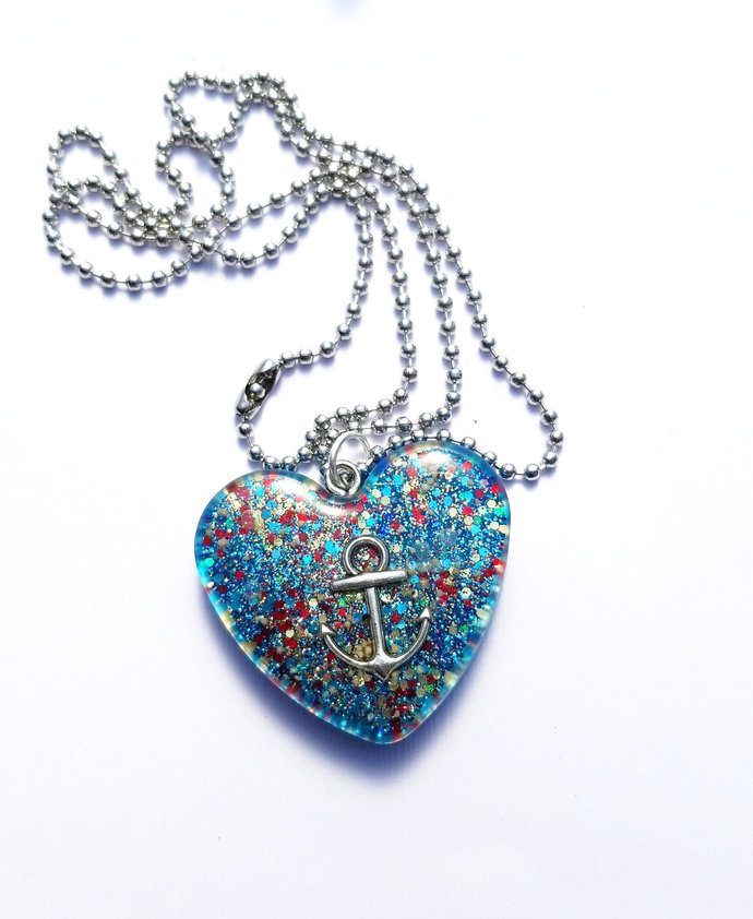 Red & Blue Anchor Resin Heart Necklace