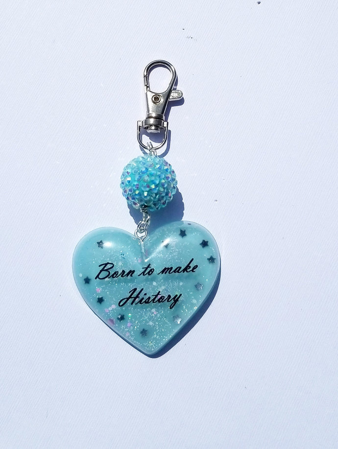 "Pastel Blue ""Born to Make History"" Resin Heart Charm"