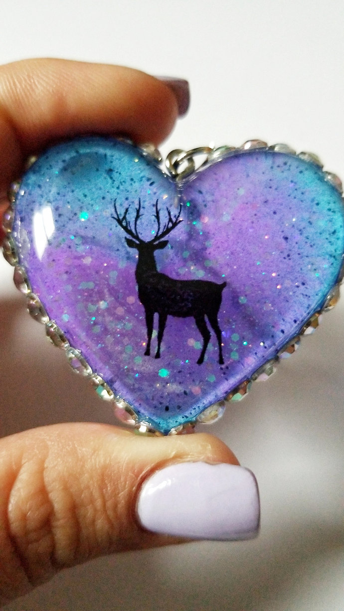 Translucent Blue and Purple Deer Resin Heart Keychain