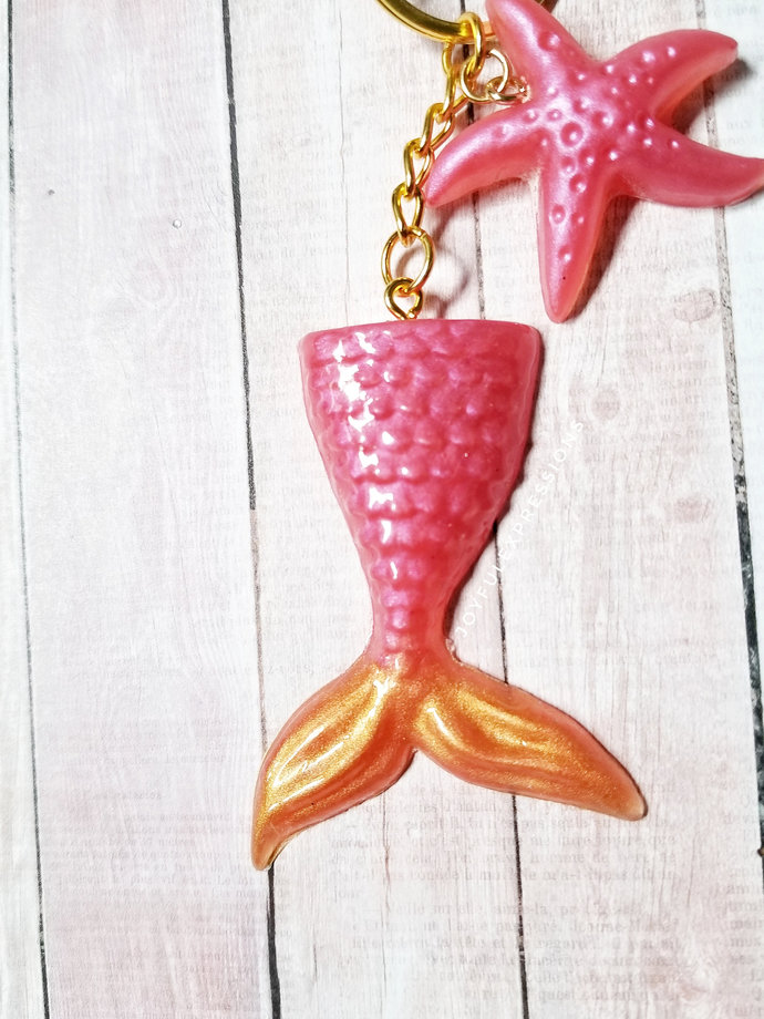Pearly Pink and Orange Mermaid Resin Key chain