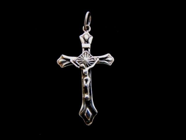 Vintage Estate Sterling Silver Religious Cross Pendant 5.3g E933