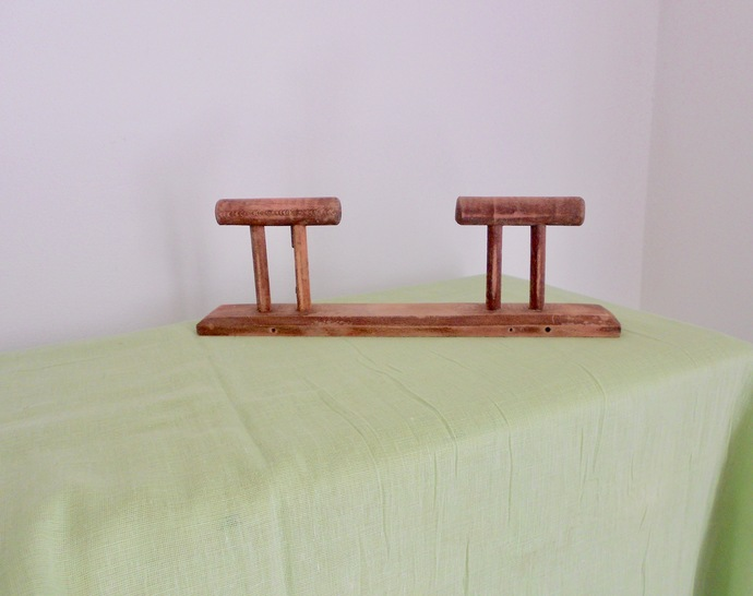 Wooden Coat Rack, Wabi Sabi Coat Rack, Coat Hooks, 2 Pegs, 1960s, French,