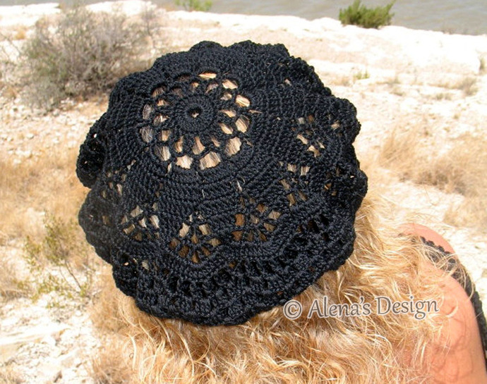 Crochet Pattern 075 Crochet Lace Beret - Alena ( includes three adult sizes)