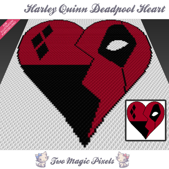 Harley Quinn Deadpool Heart crochet blanket pattern; c2c, cross stitch graph;