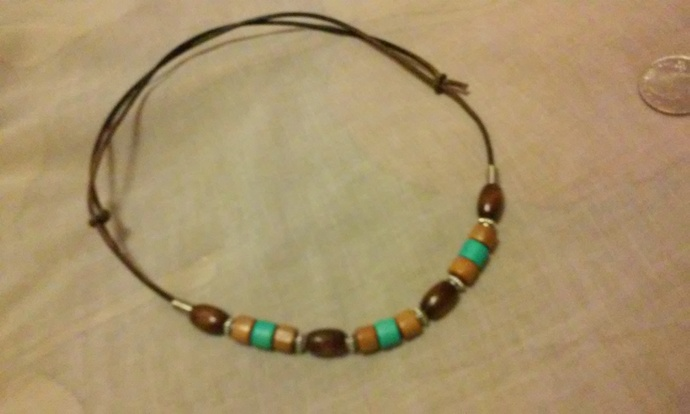 Mens leather necklace ,surfer necklace , leather choker, new, pendant