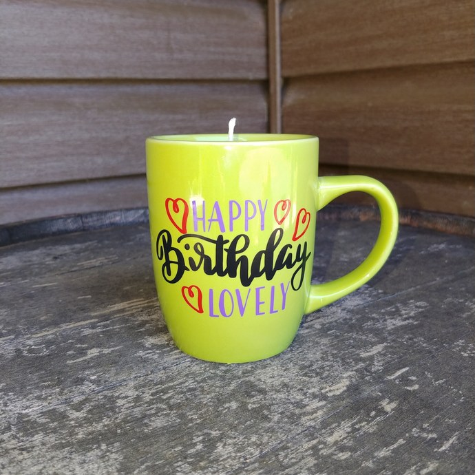 Happy birthday soy mug candle