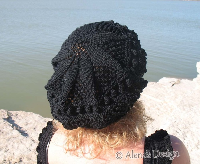 Free Knitting Pattern 187 Lace Beret Knitting Patterns Tam Lace Slouchy Hat Teen