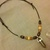 Mens surfer necklace  leather choker, tigers eye pendant