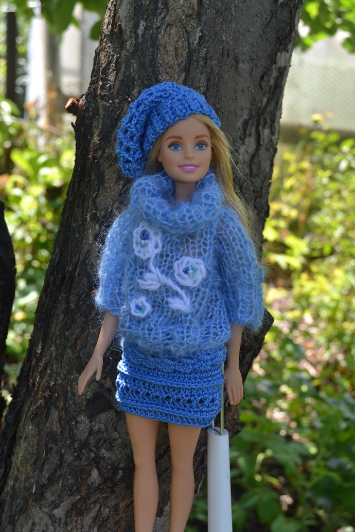 A sweater, a skirt and a beret for Barbie. Blue. Clothes for Barbie. A set of