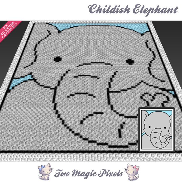 Childish Elephant crochet blanket pattern; c2c, cross stitch graph; pdf