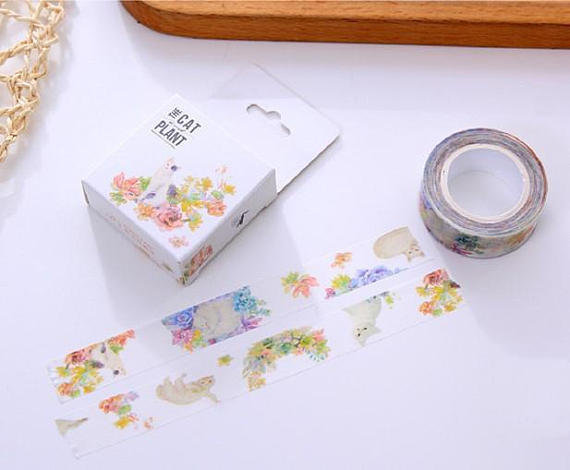Washi tape cats with flowers in pastel colors