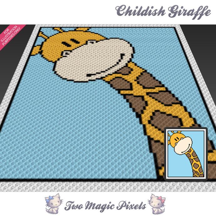Childish Giraffe crochet blanket pattern; c2c, cross stitch graph; pdf download;