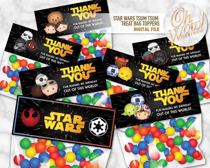 Star Wars Tsum Tsum Inspired Treat Bag Toppers: Digital File