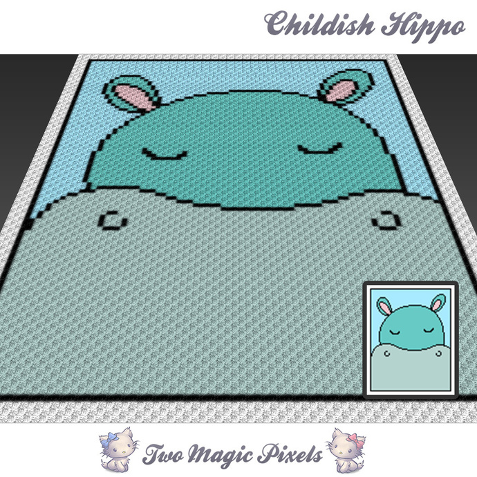 Childish Hippo crochet blanket pattern; c2c, cross stitch graph; pdf download;
