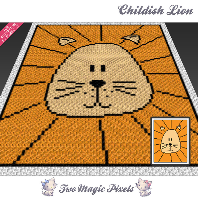 Childish Lion crochet blanket pattern; c2c, cross stitch graph; pdf download; no