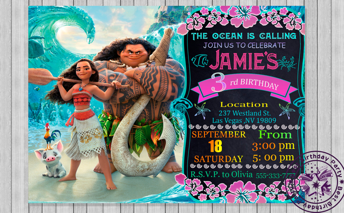 Moana invitation moana birthday by bestbirthdayparty on zibbet moana invitation moana birthday invites moana birthday invitation template filmwisefo
