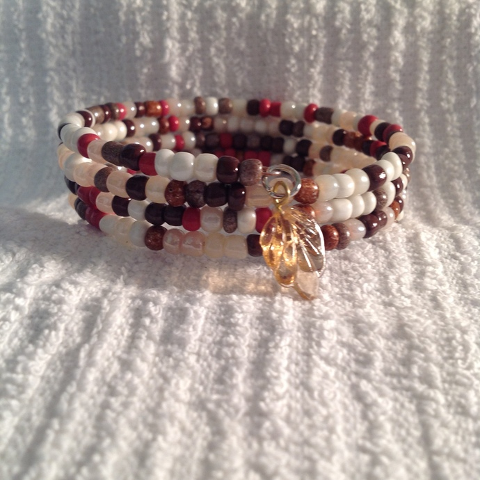 Multi colored beaded memory wire bracelet