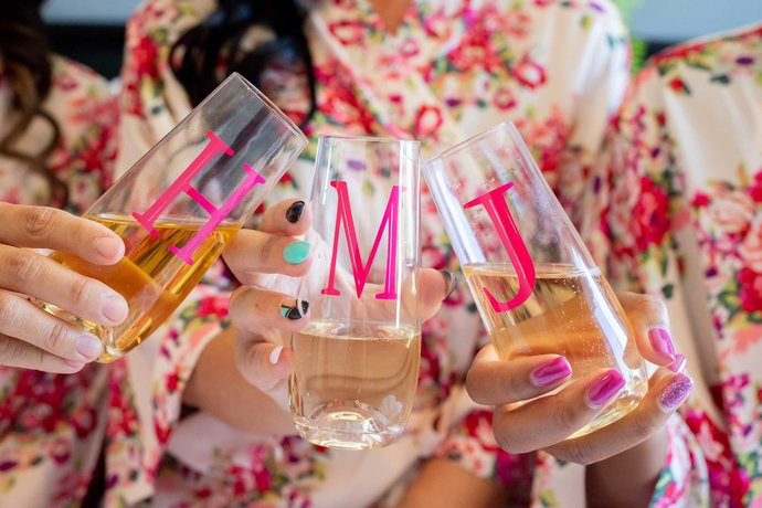 Single Initial Personalized Champagne Flutes, Hot Pink Champagne Flutes,