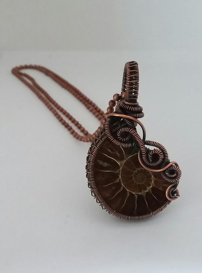 Ammonite Fossil Copper Pendant
