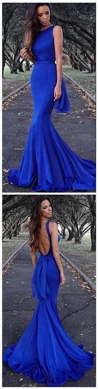 Simple royal blue party dress, stain backless long prom dress, mermaid slit prom