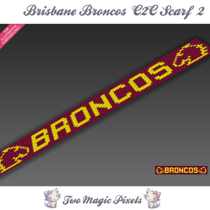 Brisbane Broncos C2C Scarf 2 pattern; graph; pdf download; C2C row-by-row counts