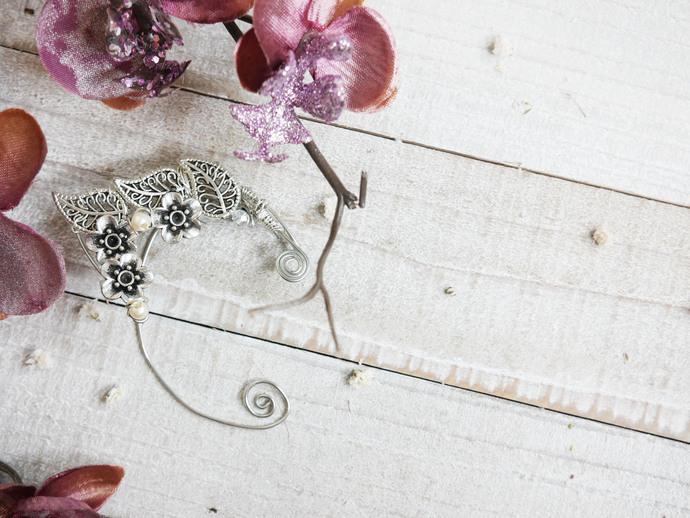 Silver floral Ear cuff