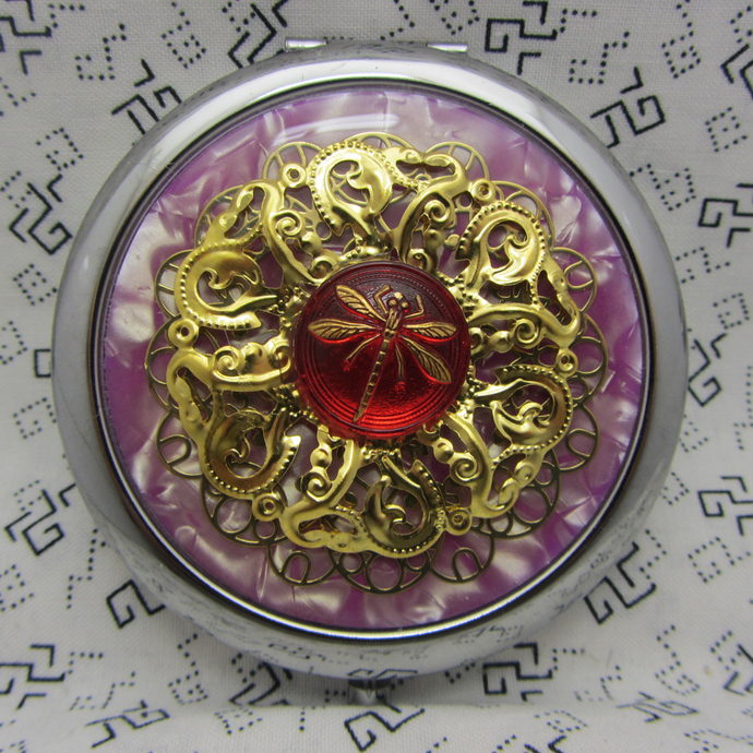 Compact Mirror Dragonfly on Purple - Protective Pouch Included - Bridesmaid Gift