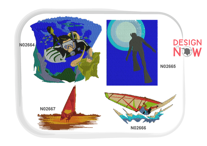 4 Designs - Sports Diving Machine Embroidery Design